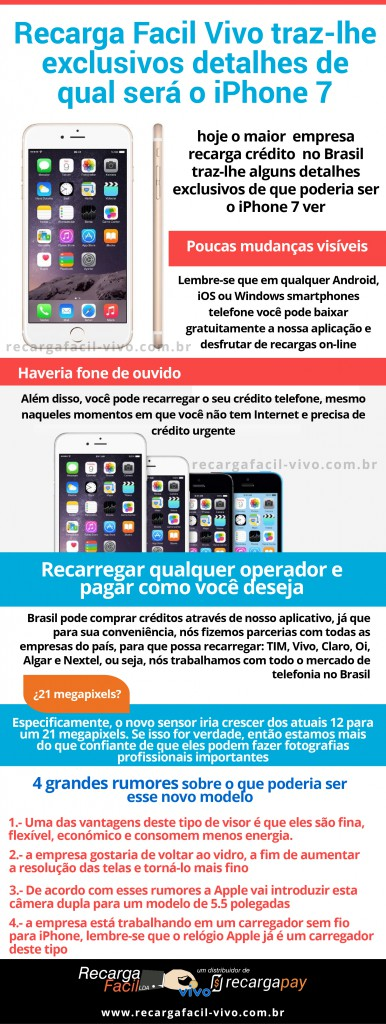 Recarga Facil Vivo traz-lhe exclusivos detalhes de qual será o iPhone 7